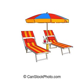 Striped beach umbrella and two beach chairs on a white background. Vector illustration.