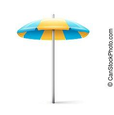 Striped beach umbrella isolated on white background