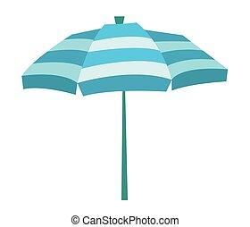 Striped beach umbrella vector illustration.
