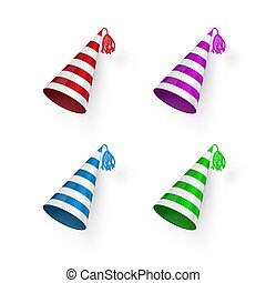 Striped Birthday hat set. Colorful Birthday hats. Vector illustration isolated on white background