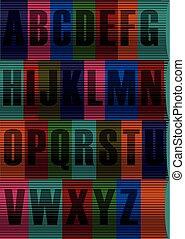 Striped Black Alphabet. Vector Illustration - Each Letter...