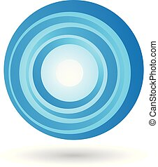 Striped Blue Icon for Letter O Vector Illustration