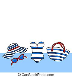Striped blue, white and red beach accessories in a marine style. Female summer bikini swimsuit, hat, bag, sunglasses, flip flops,