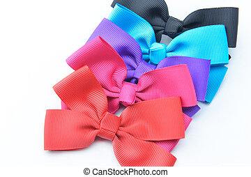 Striped bow tie multi color on white background