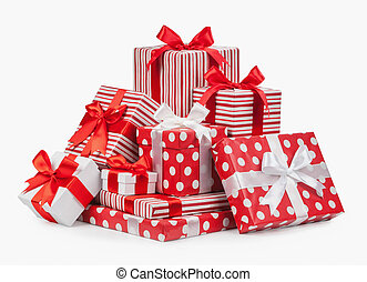 Striped box with a bow isolated on a white background