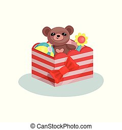 Striped box with red bow full of children toys. Cute teddy bear, inflatable ball and flower. Flat vector icon
