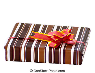 striped box with ribbon