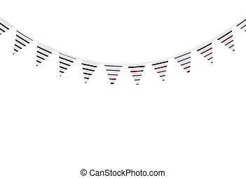 Striped bunting on white background