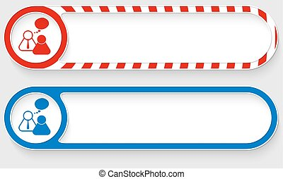 Striped buttons for your text and peoples symbol