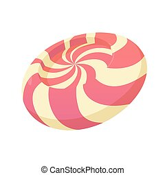 Striped candy icon, cartoon style