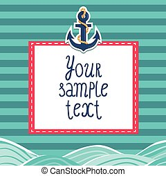 Striped card background with anchor