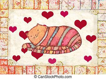 striped cat, watercolor illustration