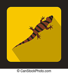 Striped chameleon icon, flat style