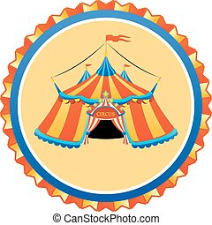 Striped circus tent in frame