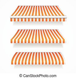 Striped Colorful Awnings Set. Vector