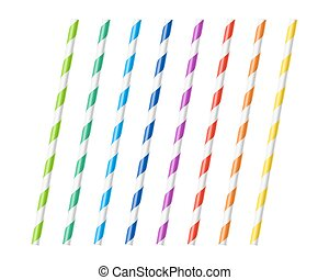 Striped colorful drinking straws