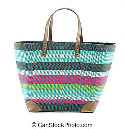 Striped colorful woven basket tote isolated on white bakcground.