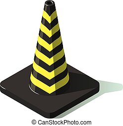 Striped cone icon, isometric style