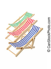 Striped deck chairs - Isolated objects: group of wooden...