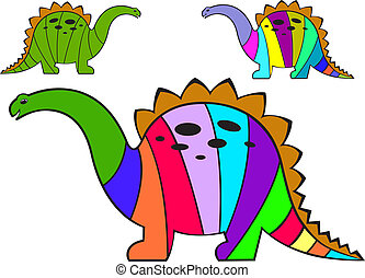 striped dinosaurs - three multi-colored striped dinosaur on...