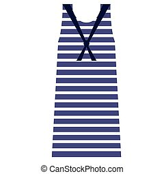 Striped dress flat illustration on white. Fashion, lifestyle and everyday objects series.