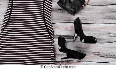 Striped dress with short sleeves.