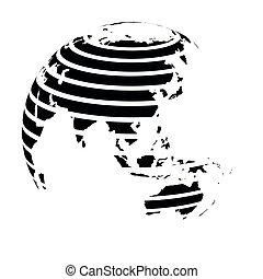 Striped Earth globe focused on Asia. Black vector illustration
