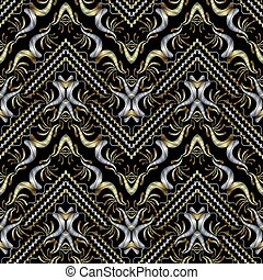 Striped embroidery gold silver black seamless pattern. Floral ba