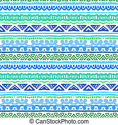 Striped ethnic pattern in vibrant blue and green - Striped...