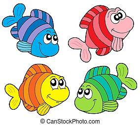 Striped fishes collection - isolated illustration.
