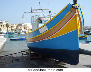 Striped Fishing Boat in Marsaxlokk
