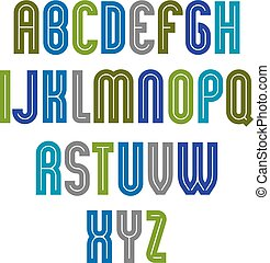 Striped font, geometric bright typeface with parallel lines. Colorful rounded regular uppercase letters.
