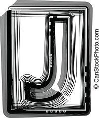 Striped Font Letter J