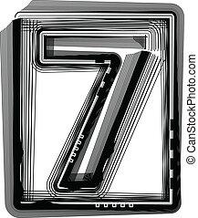 Striped font NUMBER 7