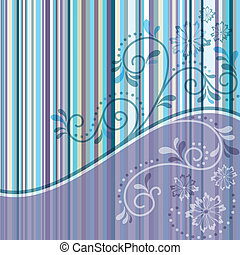 Gentle violet and blue striped frame with transparent curls and flowers (vector EPS 10)