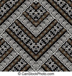 Striped geometric meander embroidery seamless pattern. Grunge 3d