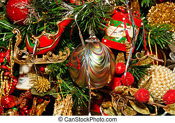 Striped Gold Ornament on Christmas Tree