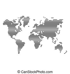 Striped Gray World Map on White Background. Vector...