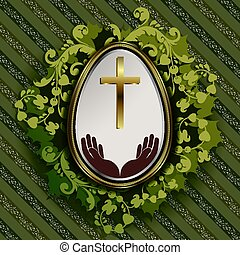 striped green background with easter egg and wreath of leaves