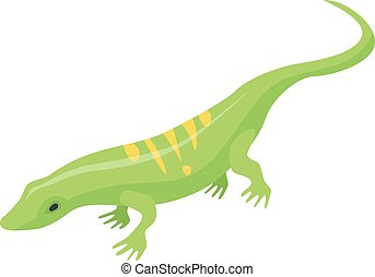 Striped green lizard icon, isometric style