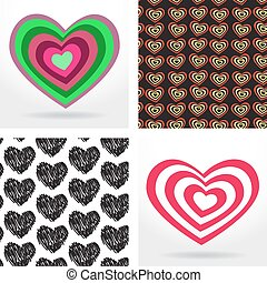 striped heart on white background Valentines day, wedding card. seamless pattern with heart. Vector
