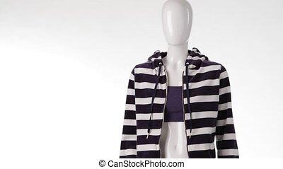 Striped hoodie on female mannequin. Striped zipper hoodie...