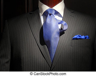 Striped jacket with blue striped tie and handkerchief - ...