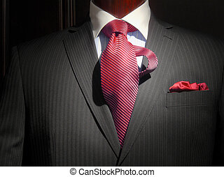 Striped jacket with red striped tie and handkerchief - Close...