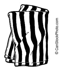 Striped kitchen towel. Black and white hand drawing. Object isolated on white background. Cookbook illustration, recipe, menu, magazine or journal article