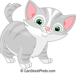 Striped Kitten - Illustration of striped kitten
