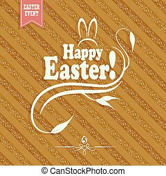 striped light brown background with a text of a happy easter, card