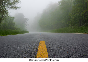 Striped Lines on a Road in the Fog