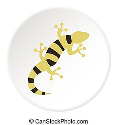 Striped lizard icon, flat style