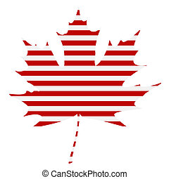 Striped Maple Leaf Silhouette